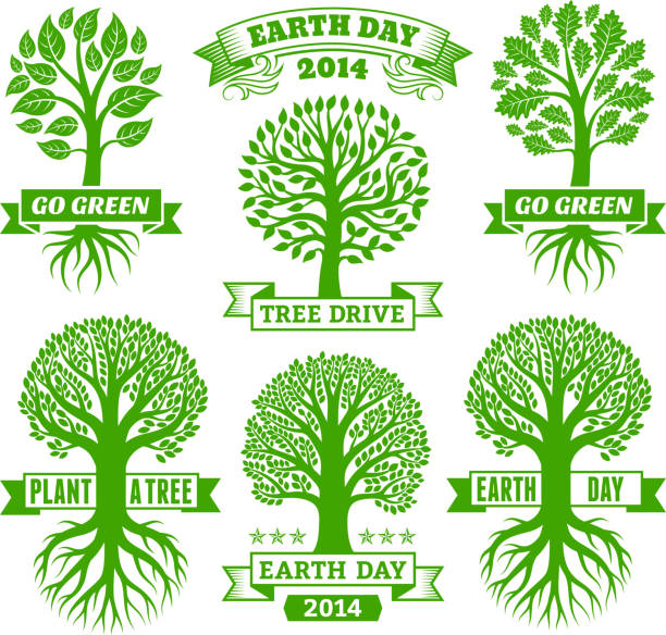 Earth Day royalty free vector Green Tree Banners & Badges Earth Day with Green Tree Banners & Badges root hair stock illustrations