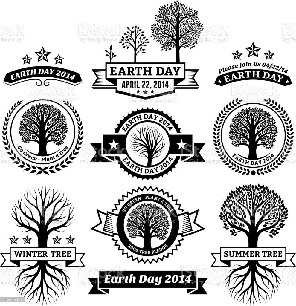 earth day royalty free vector with tree banners badges stock vector