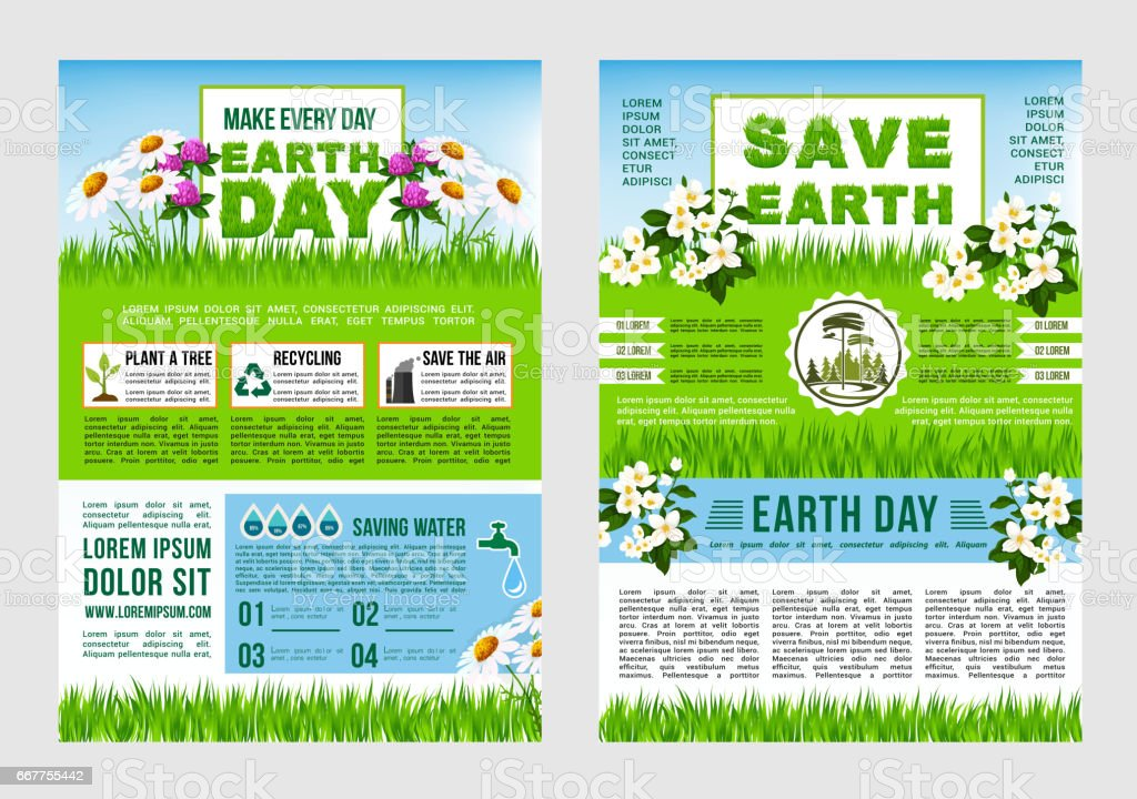 informative poster template - earth day save planet information poster template stock