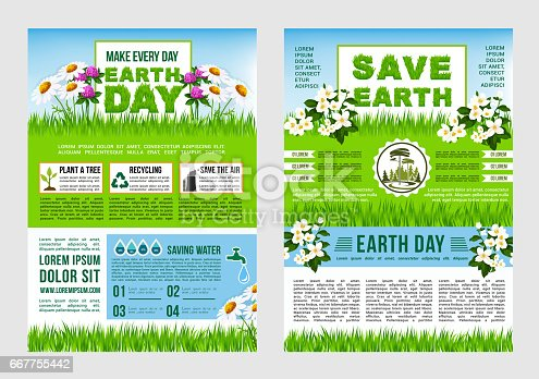 Earth Day Save Planet Information Poster Template Stock ...