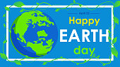 earth day text and world vector flat graphic for  background or banner