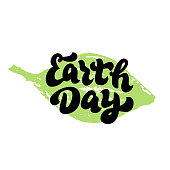 Earth Day text sticker on leaf. Trendy lettering font. Environmental holiday typography. Banner, card, poster.Print for t-shirt, eco bag, mug. Vector eps 10.