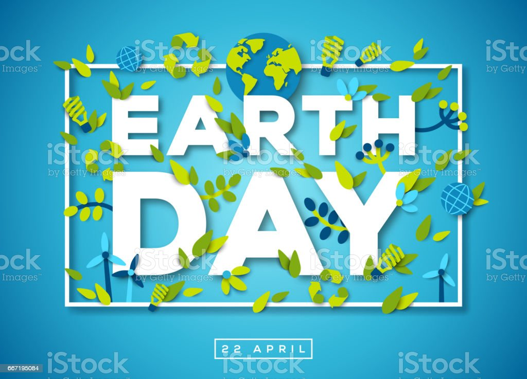 Earth day typography design on blue background vector art illustration