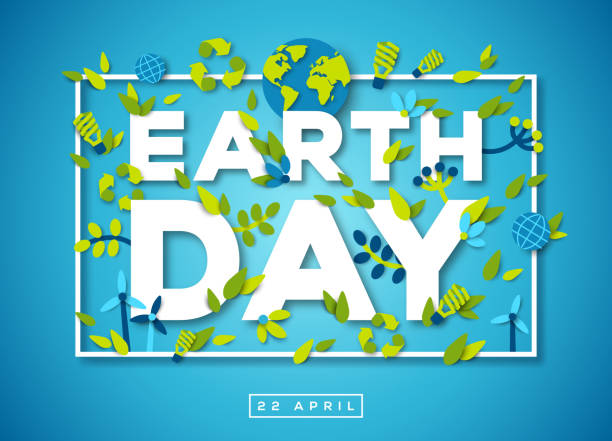 Earth day typography design on blue background Happy Earth day typography design with abstract leaves, papercut shapes and ecology icons. Vector illustration. Colorful environment elements thin square frame on blue background earth day stock illustrations