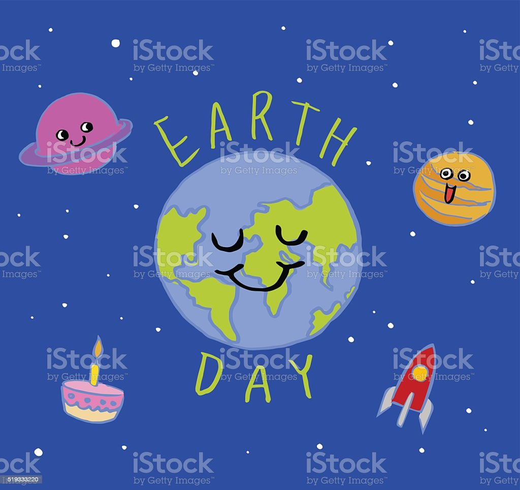 earth day typography, vector Illustration, cartoon vector art illustration