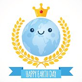 Earth Day vector background. Cartoon globe with golden crown and laurel wreath. Cute cheerful smiling planet. Illustration for April 22 celebration. Support for environmental protection, ecology theme