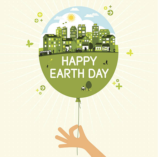 Earth Day Happy Earth day - hand with balloon hybrid car stock illustrations
