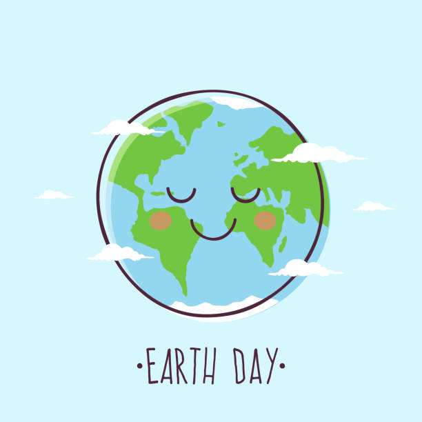 Earth Day Earth Day. Smiling Cartoon Planet Earth. earth day stock illustrations