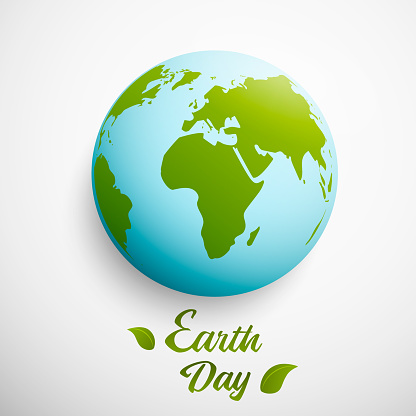 Earth Day. Vector illustration with planet and green leaves. Vector illustration.