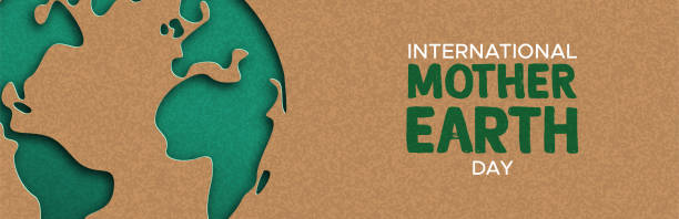 Earth Day web banner of paper cut world map International Mother Earth Day web banner illustration of green papercut world map. Recycled paper cutout for planet conservation awareness. earth day stock illustrations