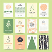 Earth day flyer, world environment day poster, Eco friendly products ad banner. Artistic collection of vector templates with thin line icons, geometric symbols and hand drawn branches and plants.