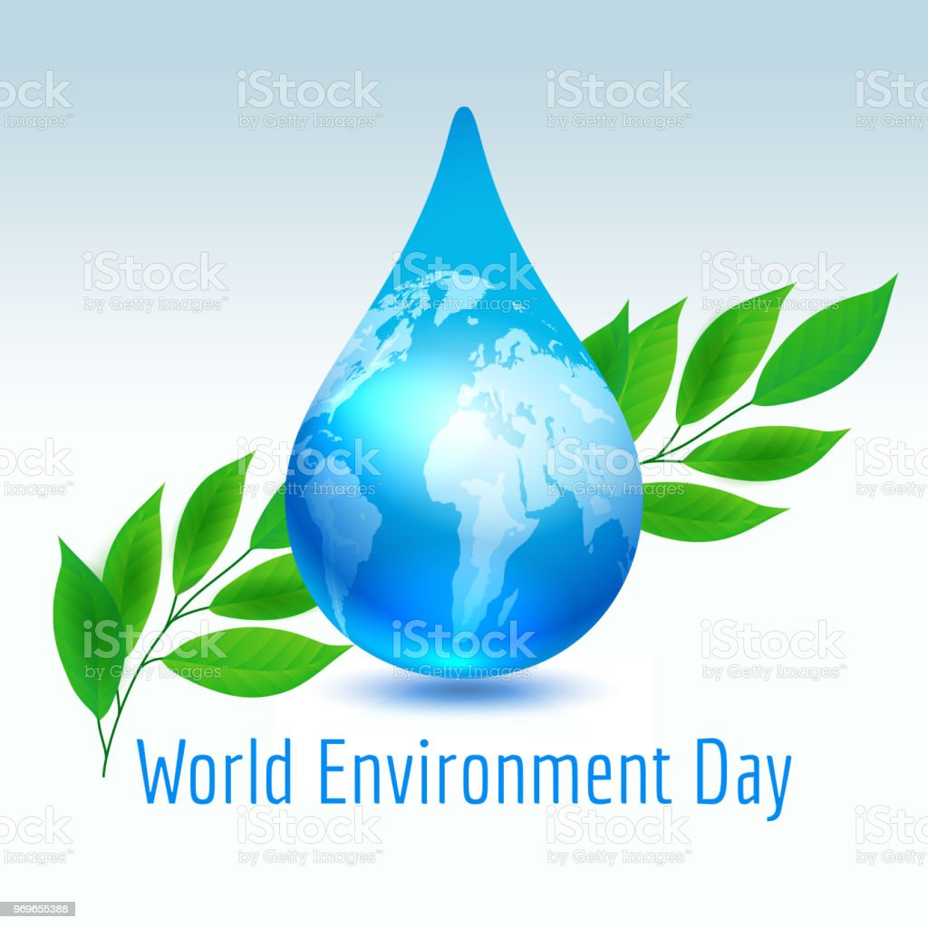 Erde-Drop mit grünen Blättern – Vektorgrafik
