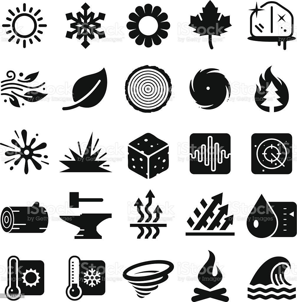 Earth Elements Icons - Black Series vector art illustration
