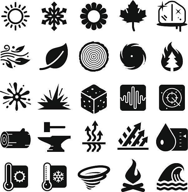 stockillustraties, clipart, cartoons en iconen met earth elements icons - black series - bloemen storm