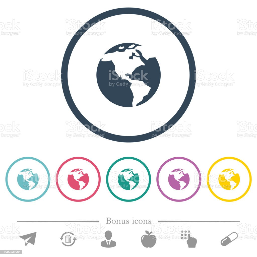 Earth flat color icons in round outlines