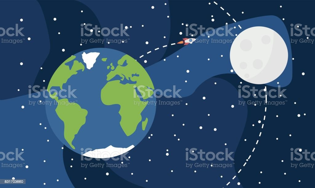 Earth from space with moon and rocket Vector Abstract stock vector