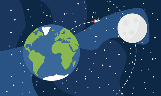 Earth From Space With Moon And Rocket Stock Illustration - Download Image Now