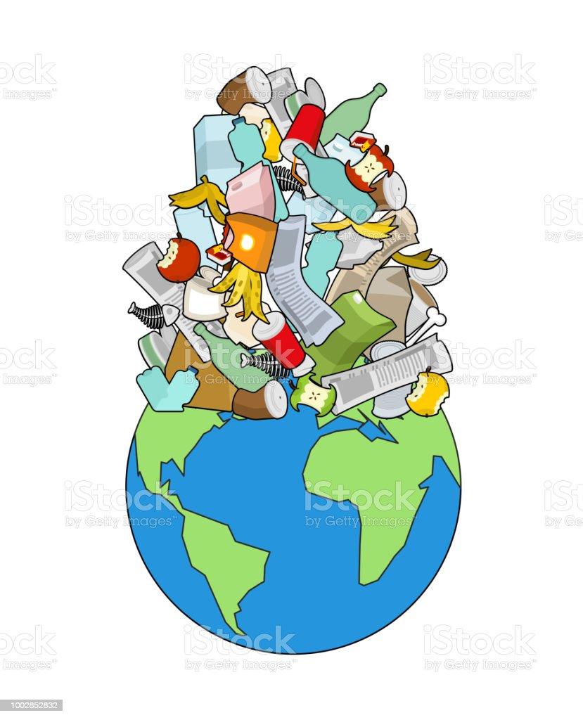 Earth Garbage Dump Planet And Garbage Scrapyard Vector Illustration