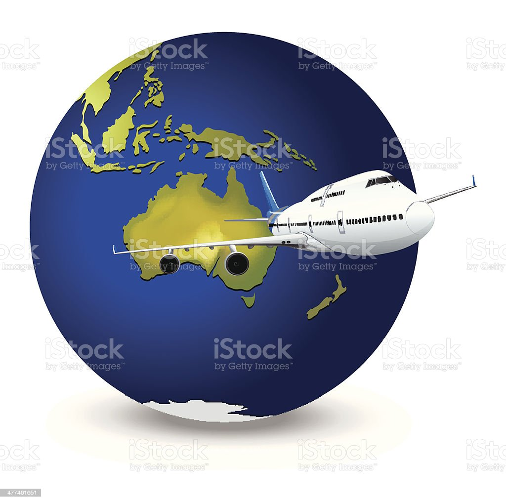 Earth globe and airplane royalty-free stock vector art