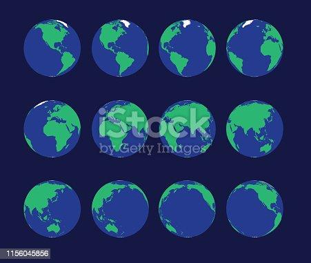 Earth Globe Animate Spinning Vector Illustration