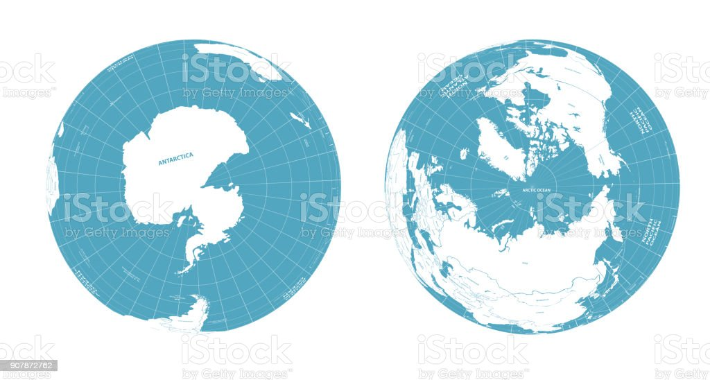 Earth globe arctic and antarctic view vector art illustration