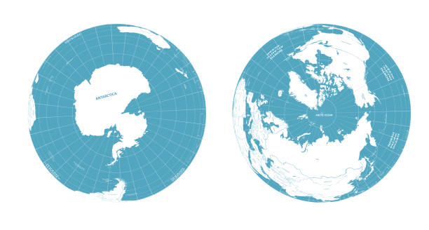 earth globe arctic and antarctic view - antarctica maps stock illustrations, clip art, cartoons, & icons