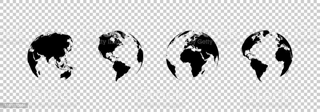 earth globe collection. set of black earth globes, isolated on transparent background. four world map icons in flat design. earth globe in modern simple style. world maps for web design. vector - Royalty-free Abstrato arte vetorial