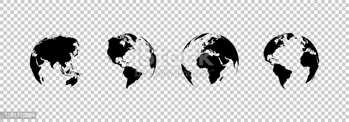 earth globe collection. set of black earth globes, isolated on transparent background. four world map icons in flat design. earth globe in modern simple style. world maps for web design. vector illustration