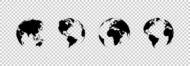 ilustrações de stock, clip art, desenhos animados e ícones de earth globe collection. set of black earth globes, isolated on transparent background. four world map icons in flat design. earth globe in modern simple style. world maps for web design. vector - planeta