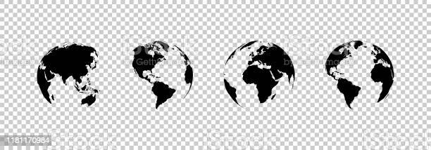 Earth Globe Collection Set Of Black Earth Globes Isolated On Transparent Background Four World Map Icons In Flat Design Earth Globe In Modern Simple Style World Maps For Web Design Vector - Arte vetorial de stock e mais imagens de Abstrato