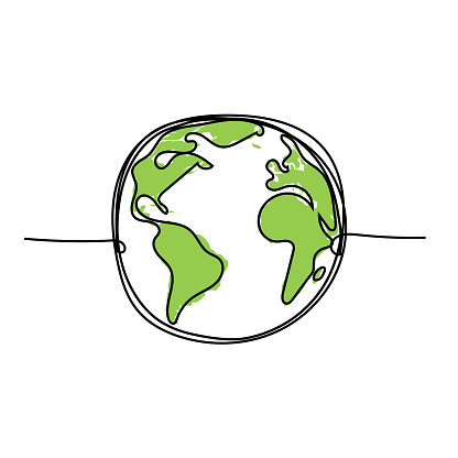 Earth globe Continuous line drawing isolated on white. Concept for greeting card, banner, poster, flyer. Abstract green planet vector illustration