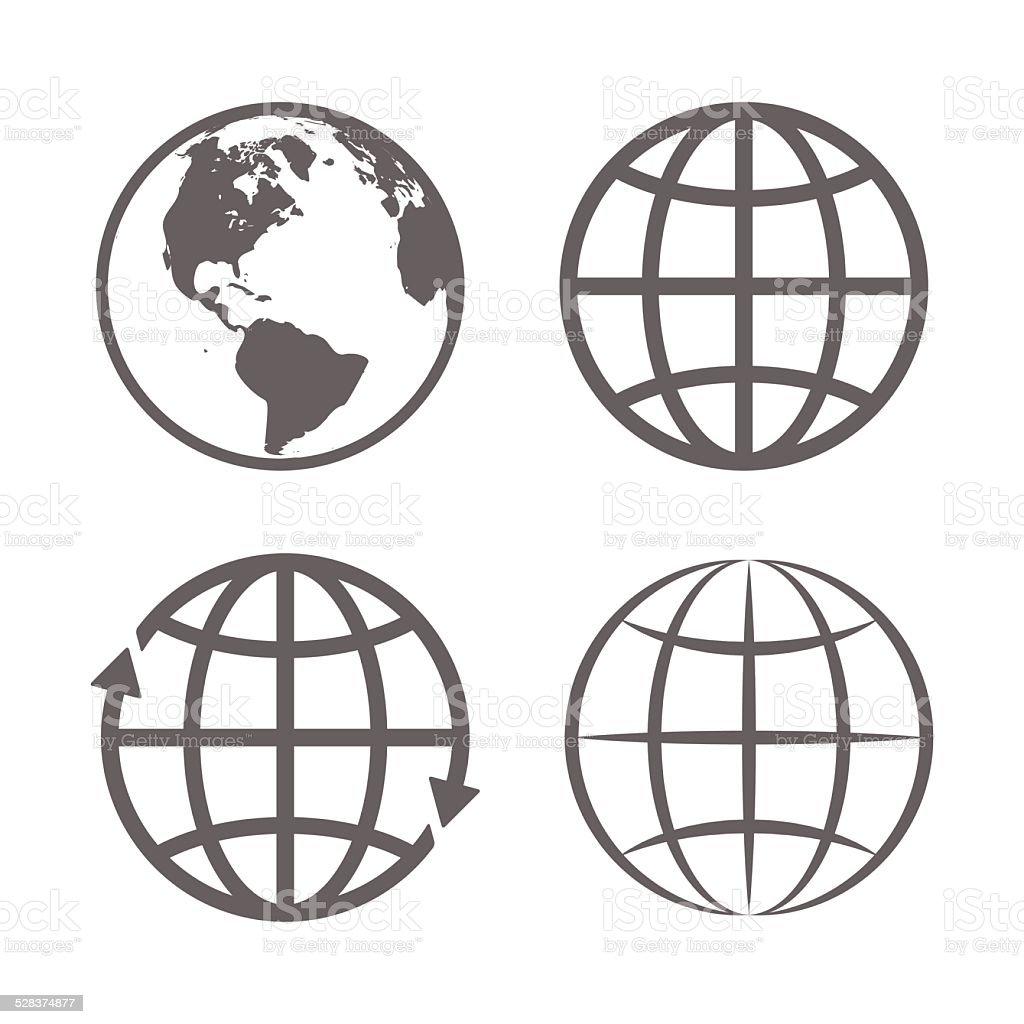 Earth Globe Emblem. Logo Template. Icon Set. Vector vector art illustration
