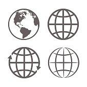 Earth Globe Emblem. Logo Template. Icon Set. Vector