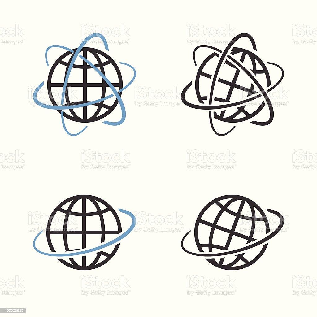Earth Globe Emblem Set. Vector vector art illustration