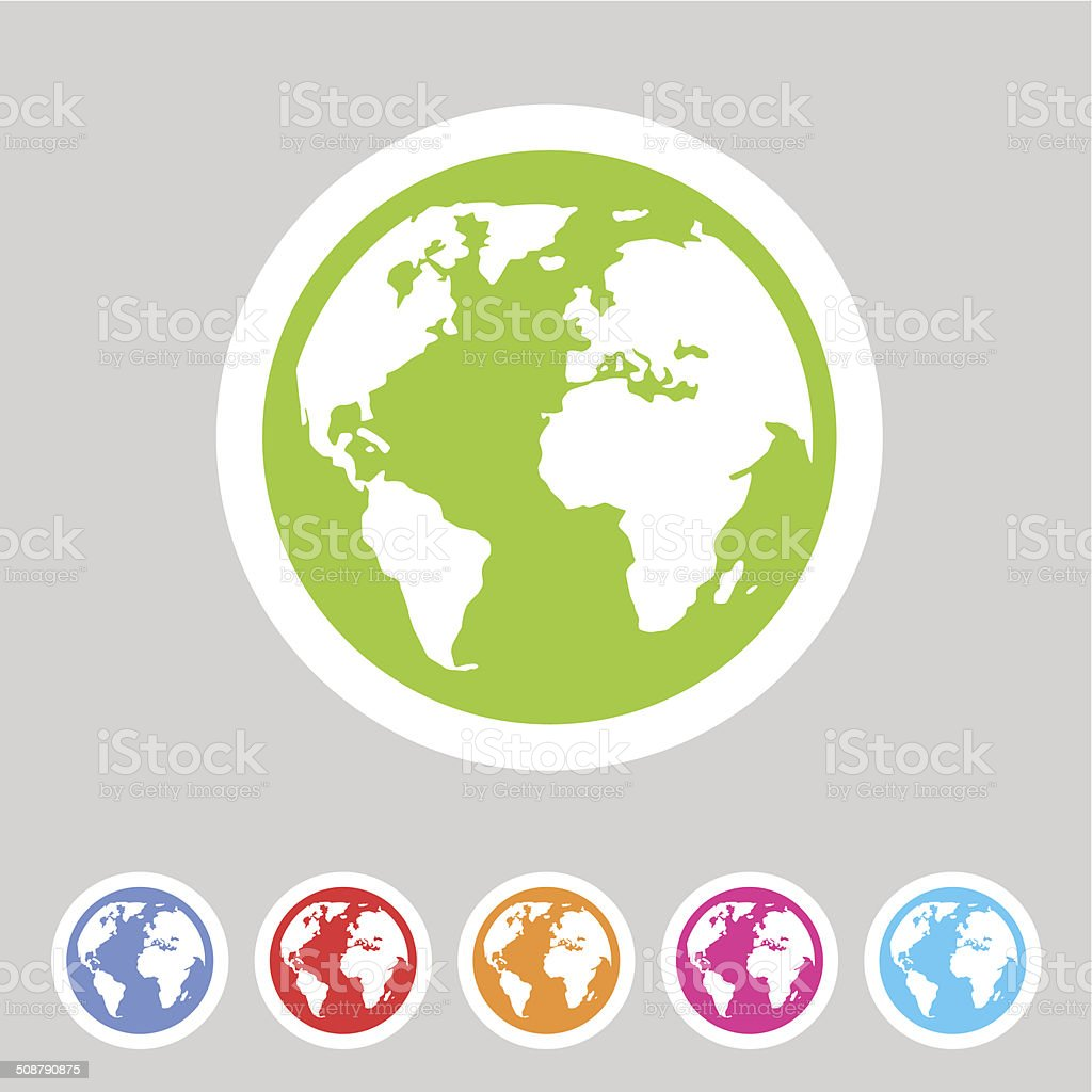 Earth globe flat icon vector art illustration