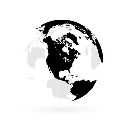 Earth globe focusing on North America and North Pole.