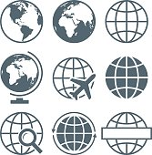 Vector Illustration of Earth Globe Icon Set Round