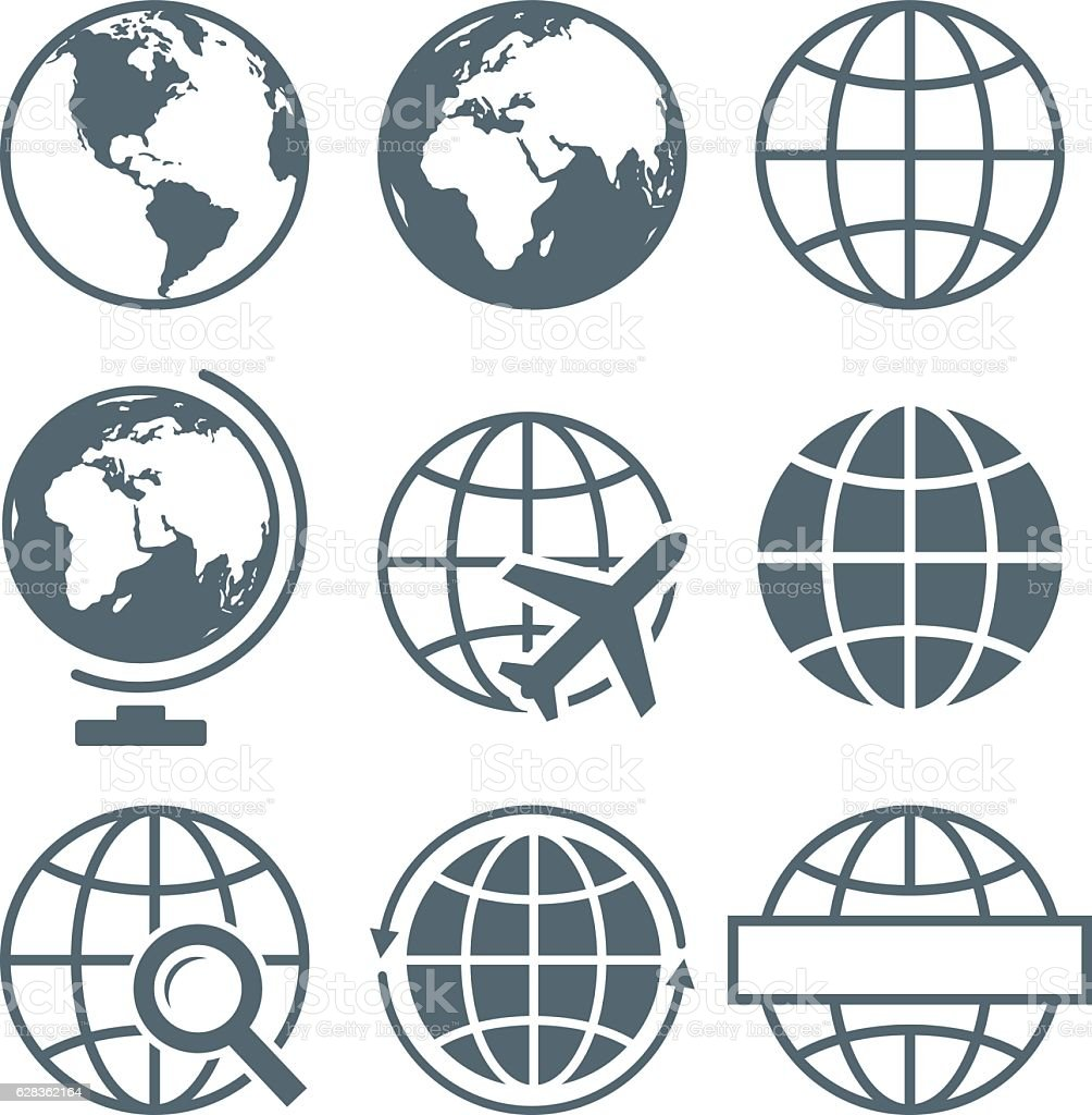 Earth Globe Icon Set Round - Vector Illustration vector art illustration