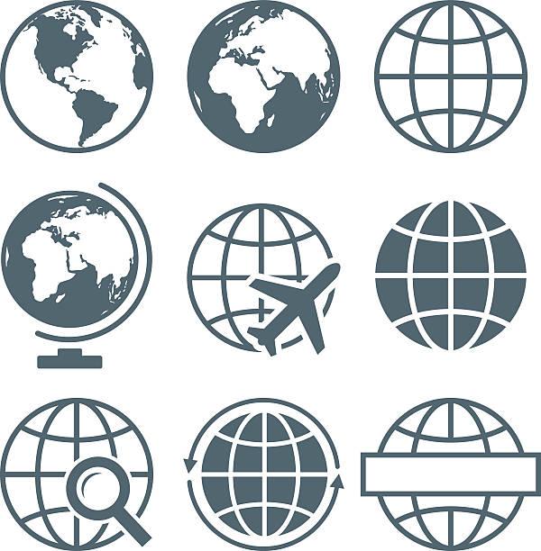 earth globe icon set round - vector illustration - asienreisen stock-grafiken, -clipart, -cartoons und -symbole