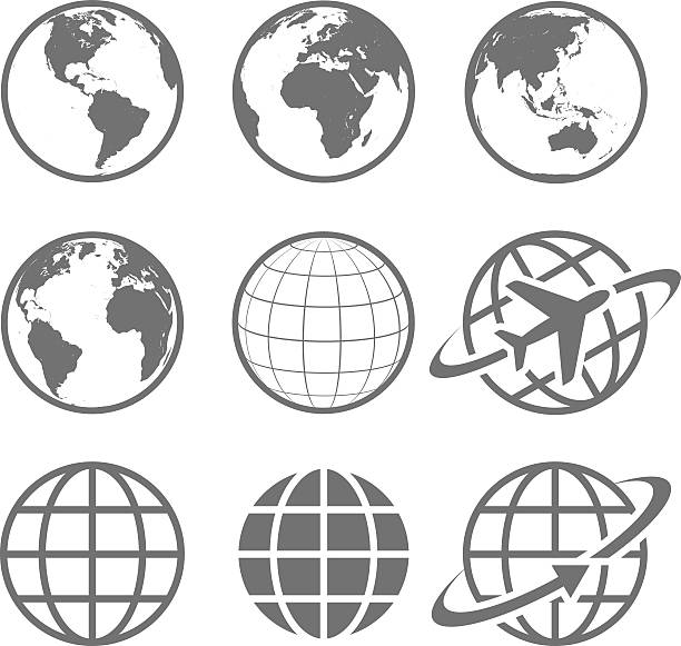 Earth globe Icon set Set of nine simple Earth globe icons. Vector file is layered. airplane symbols stock illustrations
