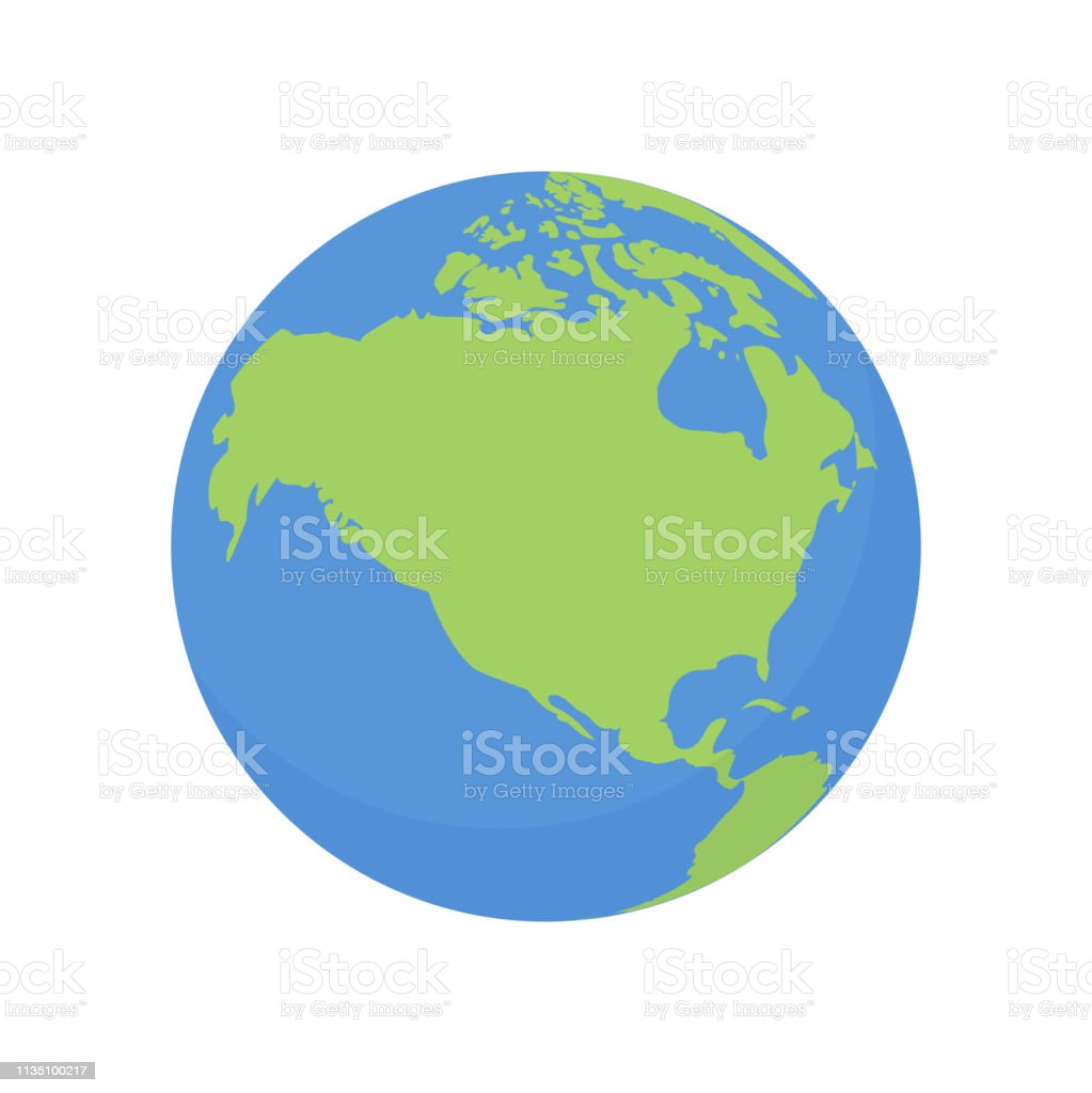 Earth Globe Icon Vector World Planet With Usa And Canada Map ...