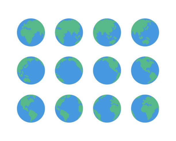 Earth globe icons Earth globe icons,vector illustration. EPS 10. planet earth stock illustrations