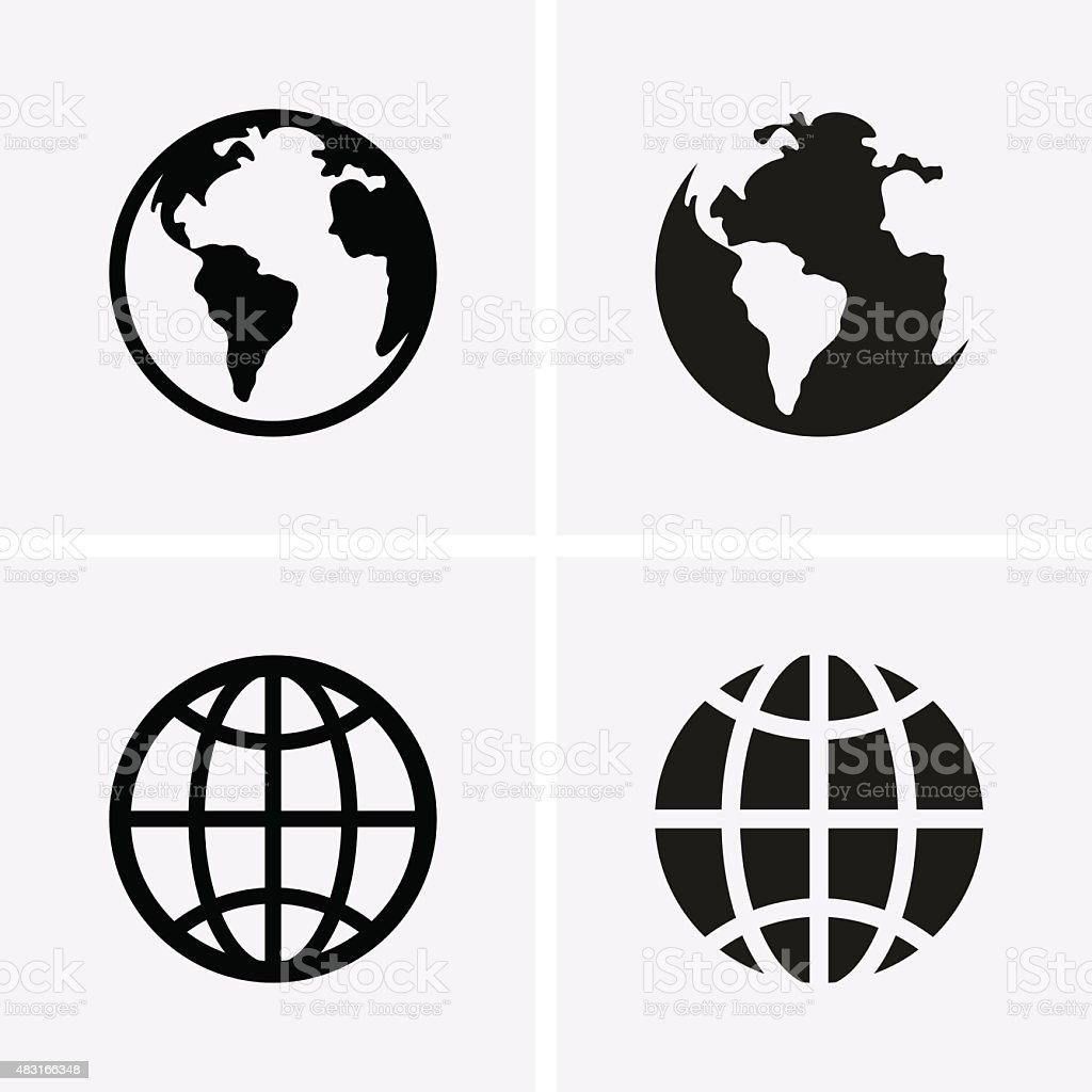 Earth Globe Icons vector art illustration