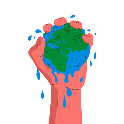 Earth globe in a hand. Vector concept colorful illustration of a hand squeezing the globe. Blue and green planet earth squeezed in a palm. Concept of environmental pollution, mining, global warming