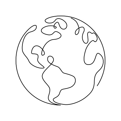 Earth globe in one continuous line drawing. Round World map in simple doodle style. Infographic territory geography presentation isolated on white background. Vector illustration