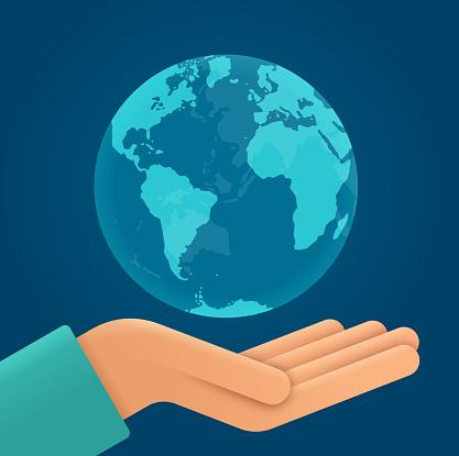Earth Globe in Open Hand