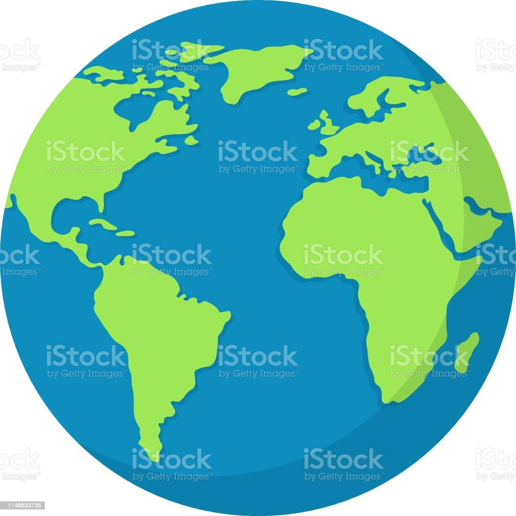 Earth globe isolated on white background. World map. Earth icon. Clean and modern vector illustration for design, web. - Royalty-free Abstrato arte vetorial