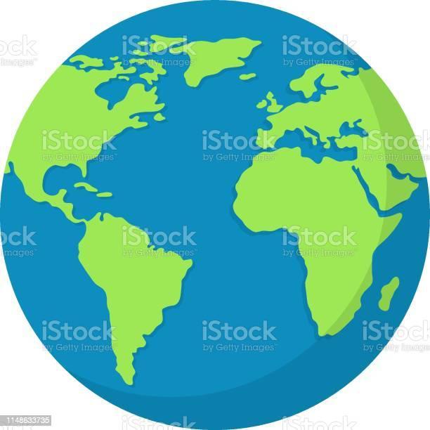 Earth Globe Isolated On White Background World Map Earth Icon Clean And Modern Vector Illustration For Design Web - Arte vetorial de stock e mais imagens de Abstrato