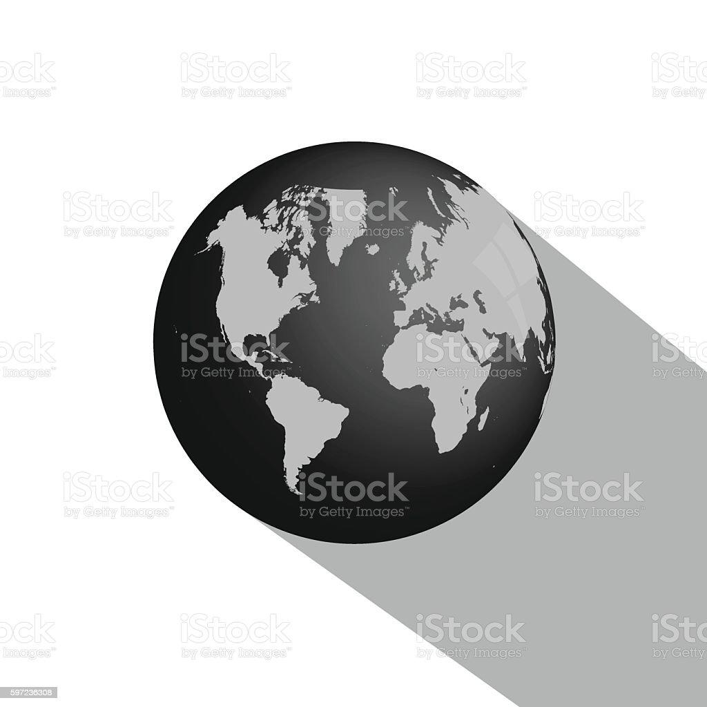 Earth Globe Long Shadow vector art illustration