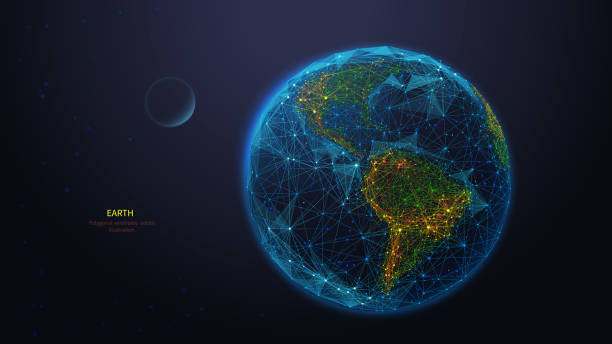 Earth globe low poly art illustration Earth globe low poly art illustration. 3d polygonal planet. Outer space concept with connected dots and lines. Cosmos exploring. Solar system body, moon and earth vector color wireframe mesh globe navigational equipment stock illustrations